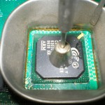 A  BGA IC being removed